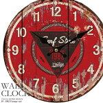 壁掛け時計幅34cm1982ヴィンテージレトロ調アンティークデザインウォールクロックレトロクロックラウンドクロック丸型時計壁掛時計丸時計掛け時計円形デザインクロックインテリア時計レッド木目調看板風【CLS2】