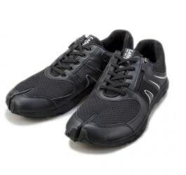 【新品/取寄品】足袋型 ウォーキング シューズ Lafeet VL04 ブラック/シルバー 25.5cm