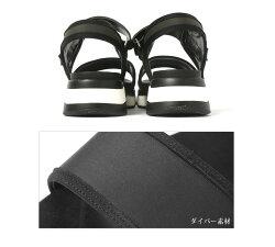ダブルベルト厚底スポーツサンダルレディースサンダル靴スポーツサンダルスポサンコンフォートサンダル厚底バイカラースポーティーシンプルシューズダイバー素材ダブルベルト歩きやすい