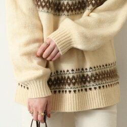 ノルディック柄シャギーもっちりニットプルオーバーレディース長袖トップスシャギーニット秋冬暖かいあったかバルーン袖バルーンスリーブボリューム袖ゆったり大きめモヘアニット求心柄厚手