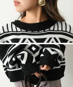 ビッグシルエット幾何学柄ニットプルオーバーレディース長袖セータートップスゆったり大きめ大きいサイズビッグサイズオーバーサイズドルマンドロップショルダー暖かいバルーンスリーブ秋冬