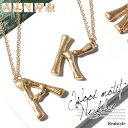 ロングネックレス 大ぶり ゴールドアルファベットウッドモチーフ ビッグ ロングチェーン シンプル レディース 木 文字…