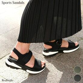 ダッシュできる大人顔スポサン!コンフォートサンダル ダブルベルト厚底スポーツサンダル レディース 靴 美脚 ベルクロ バイカラー スポーティー ダイバー素材 歩きやすい 走れる 黒 白ソール ハイテク スニーカーサンダル ママ ベルクロ 大きいサイズ