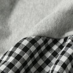 ウエストリブギンガムチェックスリーブスウェットワンピースレディーストップス長袖秋冬ロングマキシゆったり大きめフレアウエストゴムバルーン袖ウエストマークカジュアル可愛い異素材