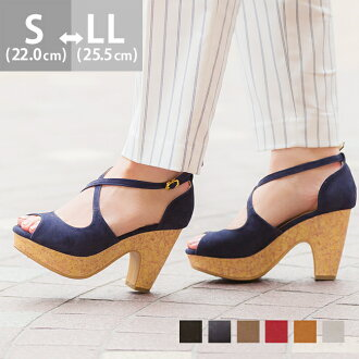 Cross  design cork chunky heel Sandals [9.3cm heel] /sandal / women / heel /spring-summer 2015 new item/small size/large size/outlet shoes cute Japan