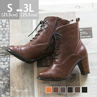 High heel lace-up short boots [7.5 cm heel] /short boots / boots/women / lace-up/heel/ outlet shoes spring-summer 2015 new item/small size/large size/outlet shoes cute Japan