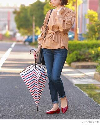 2018新作2.5cmヒール毎日履けるレインパンプスポインテッドトゥ簡易防水バレエシューズレインシューズローヒール