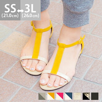 T-strap sandals [flat shoes] women /flat/ spring-summer 2015 new item/small size/large size/outlet shoes cute Japan