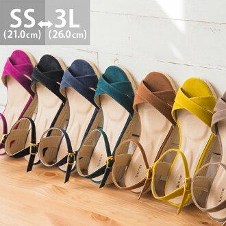 Cross design jute sandals [5.0 cm heel] women / heel / wedge sole / espadrille /spring-summer 2015 new item/small size/large size/outlet shoes cute Japan