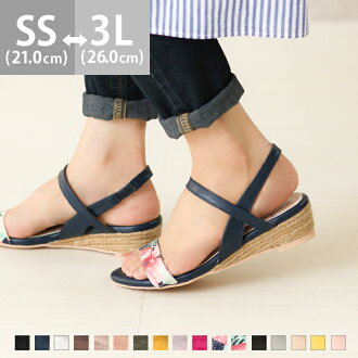 It is jute winding 3.5cm heel 2e in the size walk that the size that a strap low heel jute sandals sandals Lady's opening toe thickness bottom wedge sole wedge sole backstrap ankle strap thin strap has a big is small and the black floral design spring an