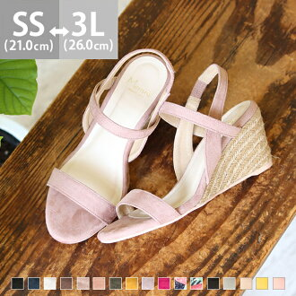 It is jute 7cm heel 2e in the size walk that the size that a strap high-heeled shoes jute sandals sandals Lady's opening toe thickness bottom wedge sole wedge sole backstrap ankle strap thin strap has a big is small and the black floral design spring and