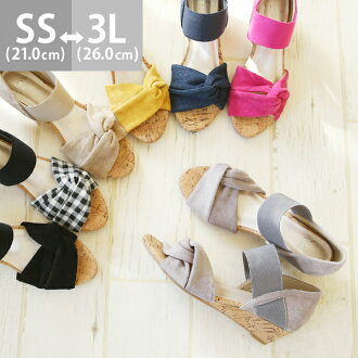 Early percent 3/1 9:59 マデ 2,499 yen turban cross design sandals cork winding heel heel 4cm 3e Lady's wedge sole Sea big size さんだるかかとあり black strap heel beach black