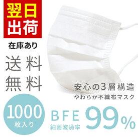 送料無料 マスク 在庫あり 1000枚 即納 不織布 3層構造 ウイルス対策 使い捨て 大人用 箱あり 男性用 女性用 メンズ レディース 飛沫防止 花粉対策