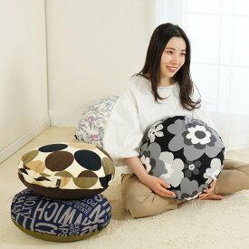 クッションカバー 円型 Sサイズ 45cm 日本製 ビーズクッション 北欧 綿プリントおしゃれ 円形 お洒落 洋風 カラフル 替えカバー