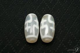 老玉髄天珠 白宝瓶天珠 約20mm×10mm【メール便可】天珠 ばら売り
