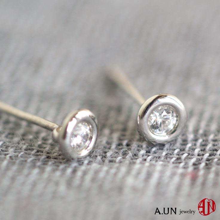 【A.UN jewelry】 シルバー ピアス ジルコニア silver925 シンプル レディース