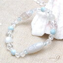 【Aquablue amulet 〜海の宝石〜 『老玉髄 白龍眼天珠ブレスレット』】【メール便不可】