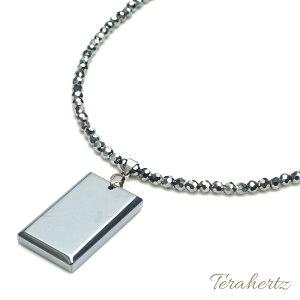 テラヘルツ ネックレス 4mm スピネルカット 約40cm +スクエアペンダント 本物 テラヘルツ鉱石 効果 【メール便可】
