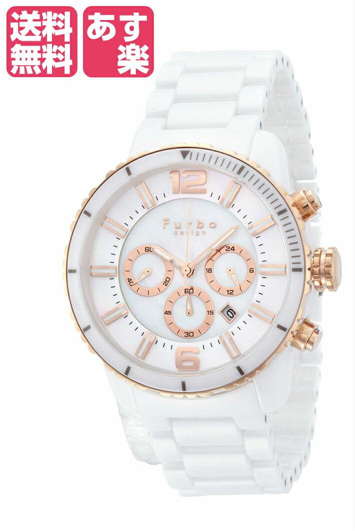 在庫限り フルボデザインイルソーレ Furbo Design Ilsole 腕時計 FS405 ソーラークォーツ クロノグラフ ホワイトセラミック×ピンクゴールド メンズ FS405CPWH メンズ