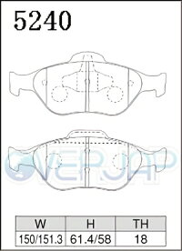 S5240GLANZスペックSブレーキパッドフロント左右セットマツダベリーサDC5W/DC5R2004/5〜1500
