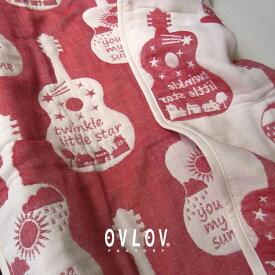 ブランケット おしゃれ ひざ掛け 大判 ひざかけ ひざ掛け 膝掛け ガーゼケット ハーフ 100 × 140 ギター レッド 赤 6重 ふわふわ かわいい ブランケット ガーゼ 生地 子供 日本製 出産祝い ギフト 女の子 男の子 柔らかい 生地 ovlov 母の日 プレゼント 実用的