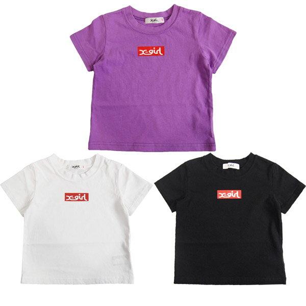 エックスガール X-GIRL STAGES ボックスロゴショートスリーブTシャツ/半袖Tシャツ 【メール便OK】80cm/90cm/100cm/110cm/120cm/130cm/140cm 【2019春新作】 XGIRL 子供服 子ども服 ベビー服