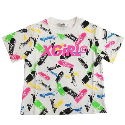 エックスガール X-GIRL STAGES スケート総柄半袖Tシャツ / スケボー柄 (メール便OK)80cm/90cm/100cm/110cm/120cm/130cm/140cm (2019春夏新作) XGIRL 子供服 子ども服 ベビー服