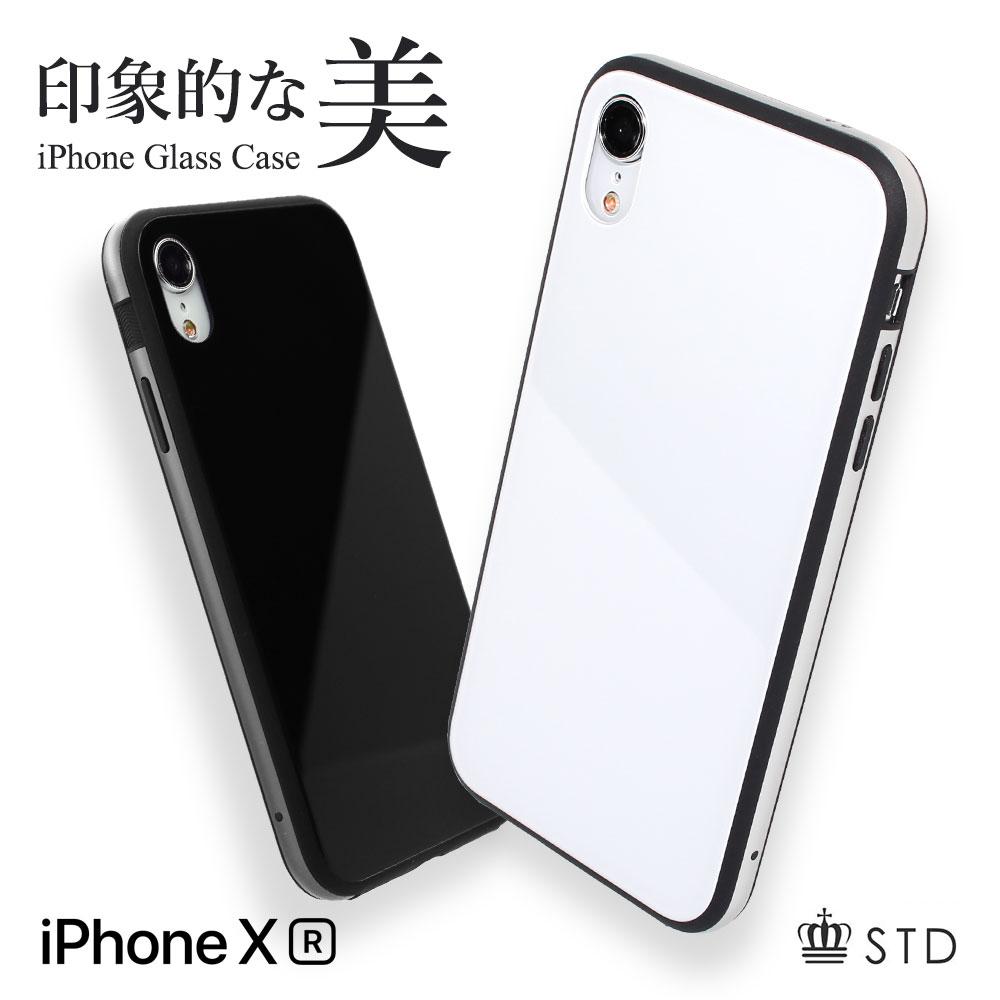 iPhone XR 6.1インチ TPU+アルミニウムのハイブリッドバンパー+ガラス背面ケース 耐衝撃 ブラック ホワイト メール便送料無料