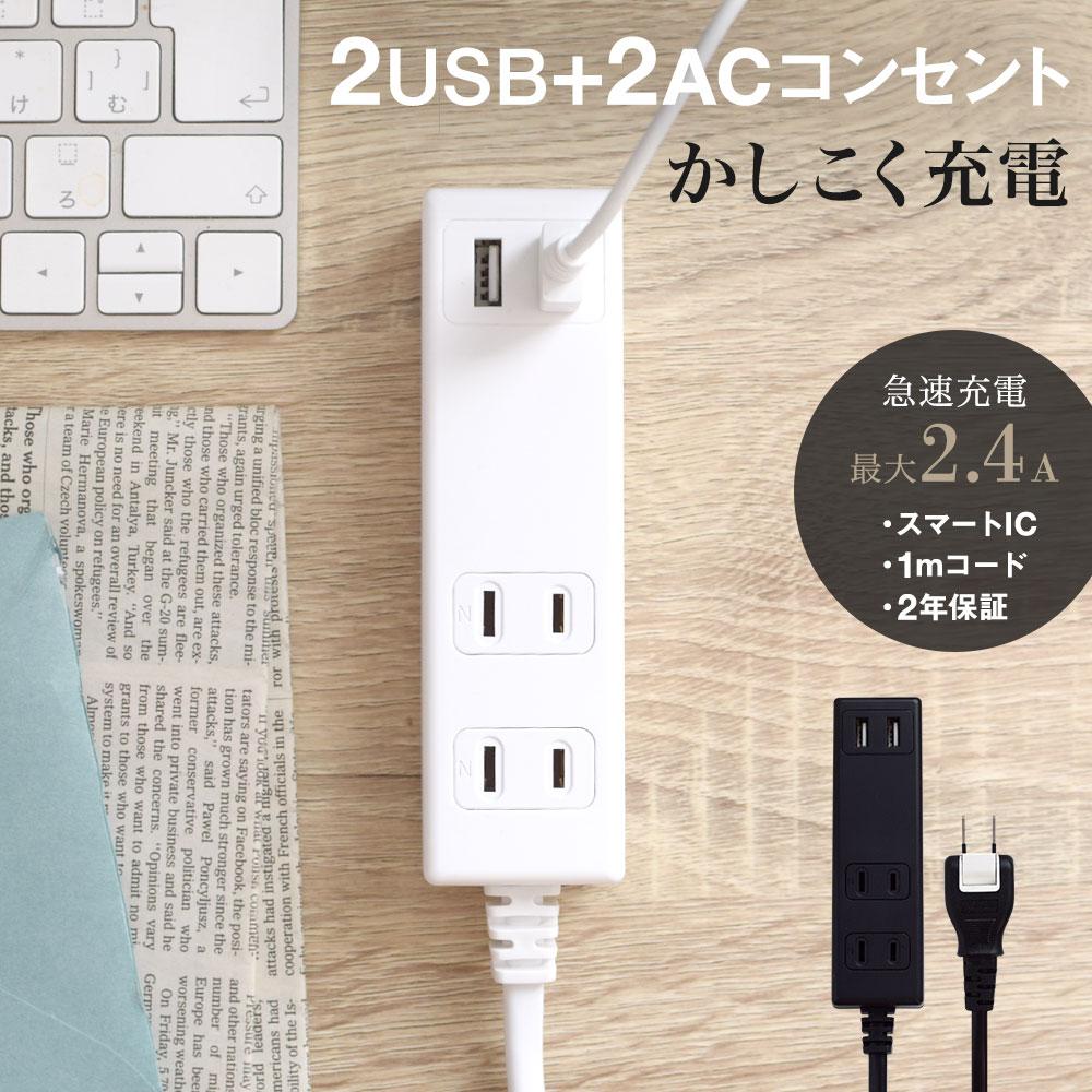 OAタップ スマートIC搭載 急速充電2.4A出力対応 USBポート付きUSBポート×2 1m 100cm 電源タップ コンセント