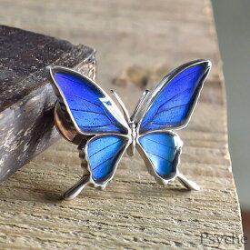 (Psyche/オーダー品) 本物の蝶の羽 シャープな羽の蝶 シルバー925 ピンブローチ 蝶々 バタフライ タミラスムラサキシジミ メンズプシュケ