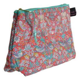 モリスデザイン LIBERTY Tana Lawn Cotton Cosmetic BagStrawberry Thief Red ACCB09【約 横21cmxたて14cm】