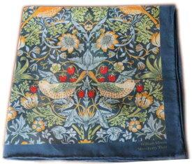 モリスデザインオックスフォードタイム シルク&コットンハンカチーフ モリスいちご泥棒 Strawberry Thief Blue CSH76