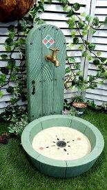 立水栓 水栓柱 立水栓セット送料無料【Happy Door-スタンダード グリーン立水栓&シンクセット】庭 水道 外水道 水受け ガーデンパン