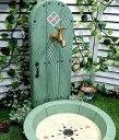 立水栓 水栓柱 立水栓セットHappy Door-スタンダード グリーン立水栓&シンクセット