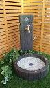 立水栓 水栓柱 立水栓セット送料無料【枕木調ガラスタイル装飾立水栓・シンクセット(M)】庭 水道 外水道 水受け…