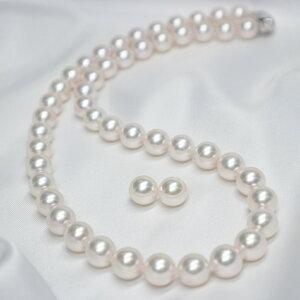 【オーロラ花珠真珠鑑別鑑定書付き】8.5mm〜9.0mm オーロラ花珠 アコヤパール ネックレス+ピアスorイヤリング セット(S−689232)オーロラ花珠真珠 本真珠 あこや真珠 アコヤ真珠 パールネック