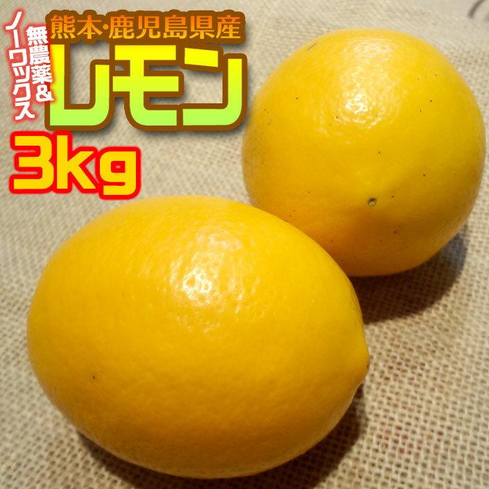 あす楽 無農薬&ノーワックス わけありレモン3 kg 熊本県産