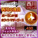 期間限定プライス<西川 羽毛布団 シングル マザーグース>ポーランド産マザーグース 93% えりもとフィットキルト (…