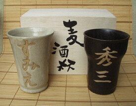 名入れ ビール・焼酎カップセット 【美濃焼】