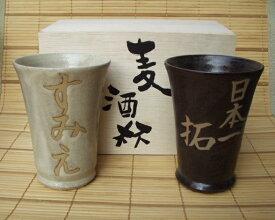 名入れ ビールカップセット 【美濃焼】