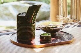 【美濃焼】織部 竹型冷酒器セット