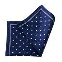ポケットチーフ チーフ シルク100% スクエア ドット ネイビーブルー 紺青 紳士 胸ポケット メンズ 男性用 遅れてごめんねギフト OZIE 日本製 国産