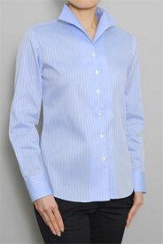レディース シャツ ワイシャツ|イタリアンカラー ブルー 青 ドレスシャツ 長袖 ビジネス おしゃれ クールビズ ブラウス 日本製 長袖シャツ ビジネスシャツ オフィス カッターシャツ クールマックス Yシャツ 夏 高級 女性 ミセス 事務服 きれいめ