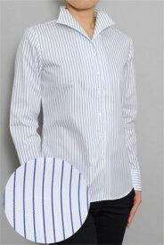 レディース ワイシャツ   イタリアンカラー シャツ ドレスシャツ 長袖 yシャツ おしゃれ クールビズ ブラウス 日本製 イタリアンカラーシャツ ビジネスシャツ オフィス カッターシャツ クールマックス ストライプシャツ ストライプ 白シャツ 白 coolmax 夏 高級 女性 事務服