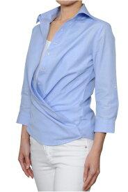 レディースシャツ レディース ワイシャツ|ブルー ビジネス ドレスシャツ おしゃれ 日本製 ブラウス オフィス 女性用 無地 七分袖 カシュクール ワイドカラー 100番手 ワイドカラーシャツ 青色 7分袖 yシャツ ビジネスワイシャツ カッターシャツ カラーシャツ