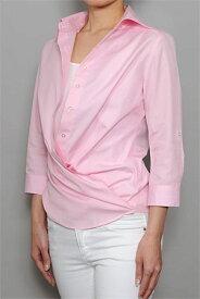 レディースシャツ レディース ワイシャツ|ドレスシャツ ピンク おしゃれ 日本製 ブラウス Yシャツ オフィス クールビズ 女性用 無地 七分袖 カシュクール ワイドカラー 100番手 ワイドカラーシャツ 7分袖 ビジネス ビジネスワイシャツ カッターシャツ カラーシャツ