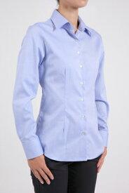 レディース シャツ ワイシャツ  ブルー 青 ビジネス ドレスシャツ 長袖 おしゃれ ノーアイロン 綿100% 日本製 スリム 長袖シャツ ビジネスシャツ ブラウス 形態安定 Yシャツ カッターシャツ オフィス 無地 オックスフォード ワイドカラー ビジネスワイシャツ カラーシャツ