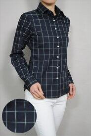レディース シャツ ワイシャツ|ドレスシャツ 長袖 おしゃれ 日本製 ビジネスシャツ ブラウス 大きいサイズ ネイビー 4L オフィス 紺 プレミアムコットン 女性用 チェック 100番手 ワイドカラーシャツ 17号 yシャツ ビジネスワイシャツ 長袖ワイシャツ 綿100% カッターシャツ