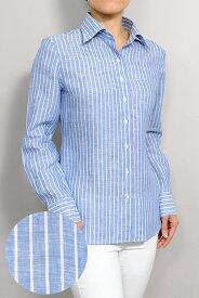 レディースシャツ レディース ワイシャツ   高級 長袖 おしゃれ 日本製 大きいサイズ ストライプ 青 yシャツ ストライプシャツ ブルー リネン ドレスシャツ ビジネス カッターシャツ 麻 リネンシャツ ビジネスシャツ 夏 涼しい 夏用 シャツ かわいい