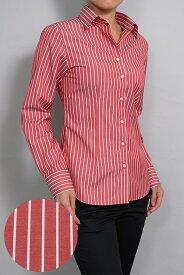 レディースシャツ レディース ワイシャツ|長袖 赤 綿100% 日本製 ビジネスシャツ ブラウス オフィス ストライプ ワイドスプレッドカラー レッド レディス yシャツ ストライプシャツ おしゃれ 赤シャツ ドレスシャツ ビジネスワイシャツ スリム カッターシャツ カラーシャツ